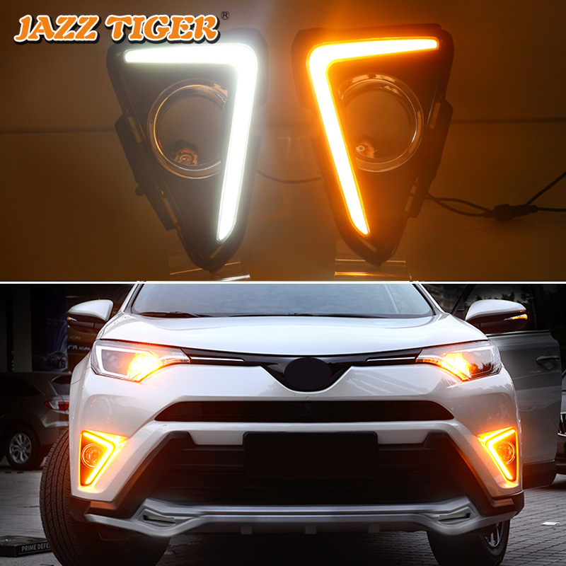 JAZZ TIGER Yellow Turn Signal Function 12V Car DRL Lamp LED Daytime Running Light Daylight For Toyota RAV4 RAV 4 2016 2017 2018 tcart for toyota rav4 2016 2017 drl daytime running light with turn signal light function headlight fog lights led car day light