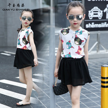 Hot Sale Sleevesless Casual T-shirt+Skirt 5-16Years Old Children Summer 2PC Chiffon Clothing Sets Girls Cartoon Children Sets
