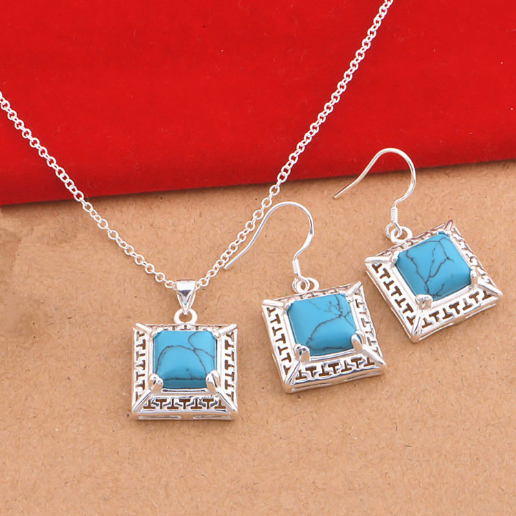 Vintage Style 925 Silver Jewelry Set Square Natural Stone