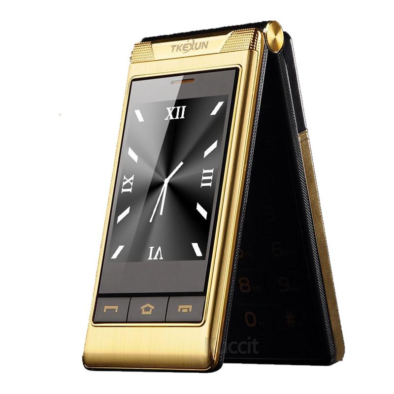 Dual Screen Celular Flip Clamshell Telefone G10 Quad GSM Velho ancião Sênior do telefone móvel 3.0 Touch screen Falante Caixa grande botão
