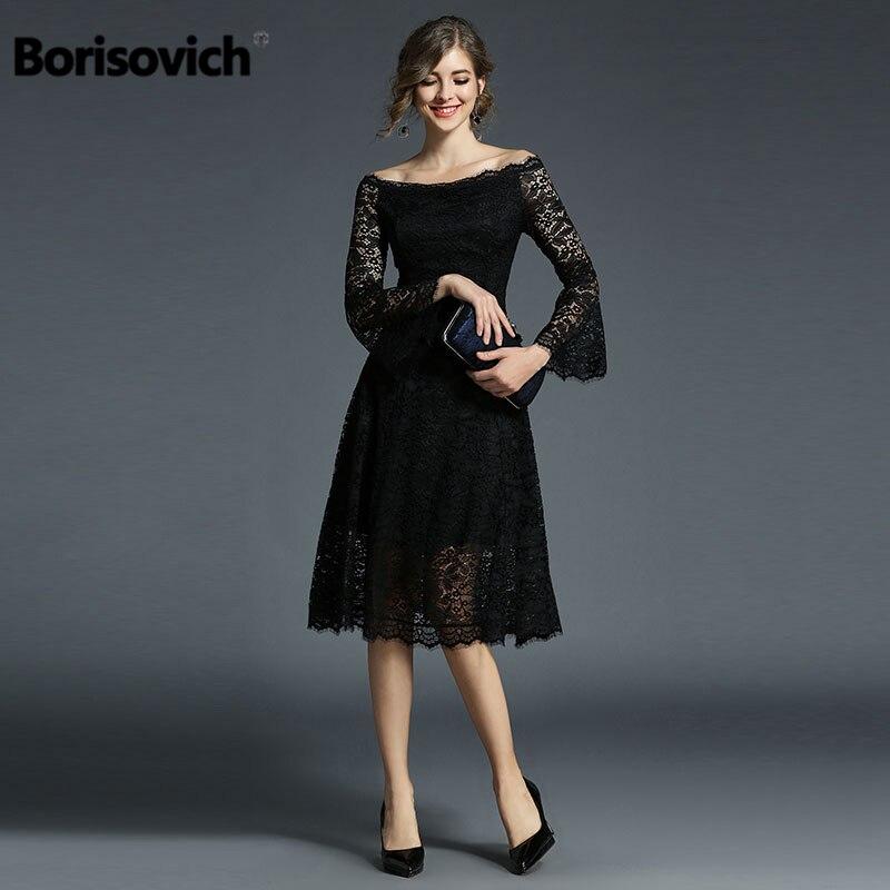 Borisovich New 2018 Spring Fashion Slash Neck Flare Sleeve Hollow Out Lace Women Elagant Party Dresses Hot Sale Vestidos M248