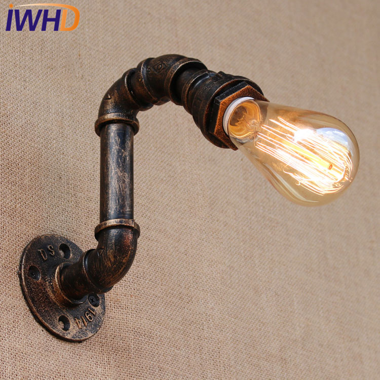 IWHD Loft Industrial Vintage Wall Lamp Antique Edison Wall Sconce Bulb E27 Water Pipe Wall Light Fixtures Home Lighting