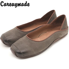 Careaymade-New style hand-made vintage cowhide leather sole womens single shoes comfortable square head shallow mouth