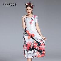 ANNROOT летнее платье 2018 модное платье с цветочным принтом женское высокое качество Шелковое Розовое платье Элегантное Вечерние платье с коро