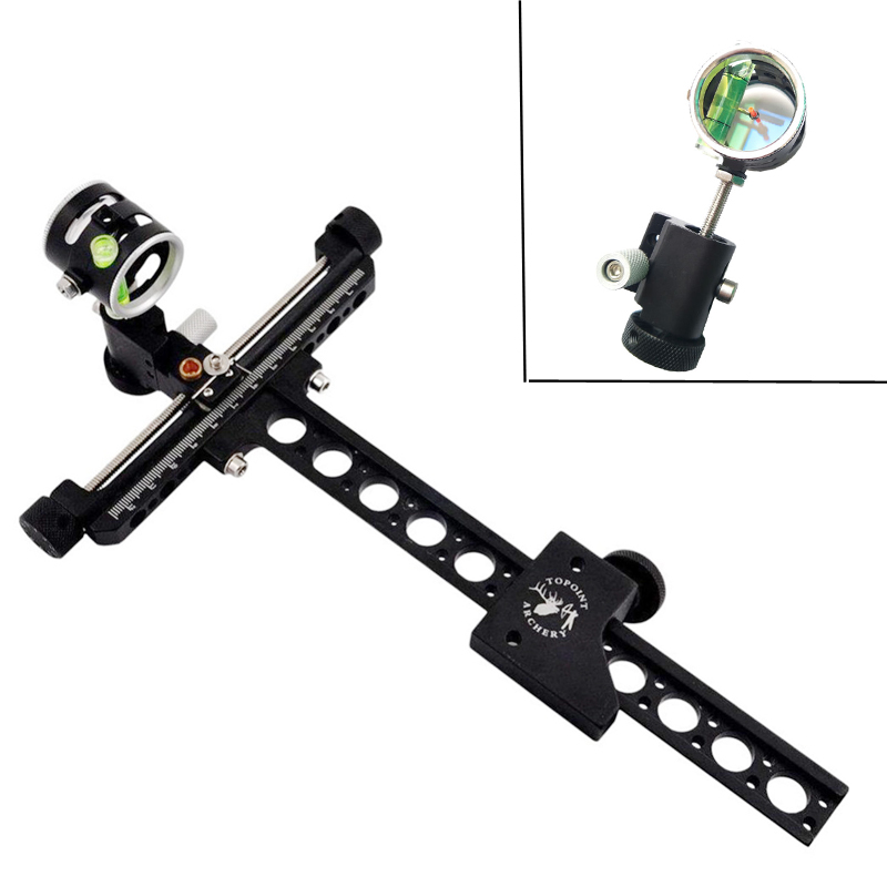 Archery Compound Bow Sight CNC Aluminum Bow Sight 0 059 imported optical fiber Micro Adjust Long