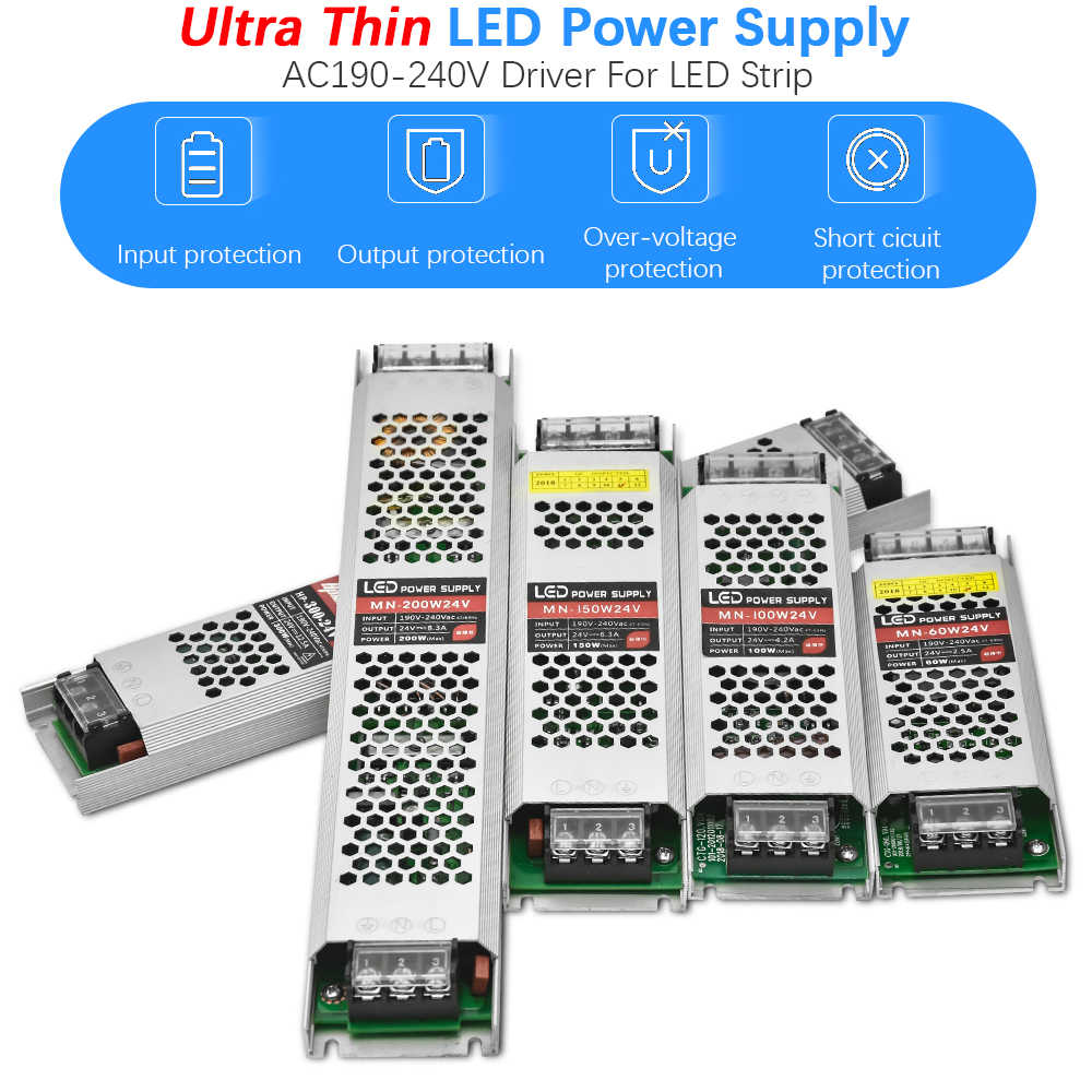 Ultra Thin DC24V LED Lighting Transformers 60W 100W 150W 200W 300W Driver Power Adapter AC190-240V Switch Power Supply
