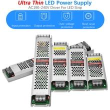 Ultra cienki DC24V transformatory oświetleniowe led 60W 100W 150W 200W 300W sterownik zasilacza AC190 240V przełącz zasilanie