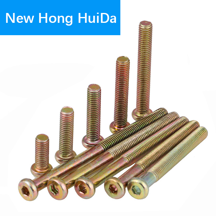 M6 Furniture Barrel Screws Hex Drive Allen Socket Cap Bolt Nuts Zinc Plated for Furniture Cots Beds Crib and Chairs