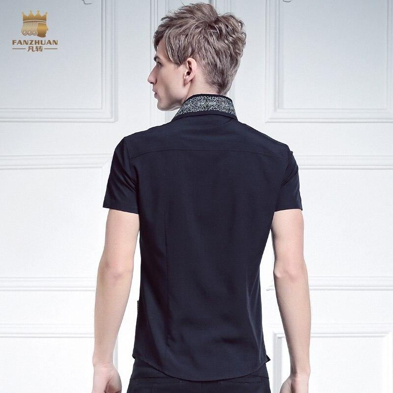 Livraison gratuite nouveau mâle mode FanZhuan hommes placket personnalité irrégulière oblique col 612066 broderie chemise à manches courtes - 2