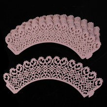 Hot 50pcs Girl Baby Shower Birthday Party Laser Cut Celebration Decor Cupcake Wrapper Wraps Case