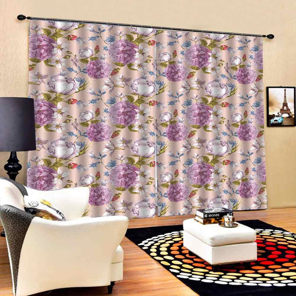 Large pink flower curtains girls room 3D Blackout Window Curtains For Living Room office Bedroom Drapes Cortinas
