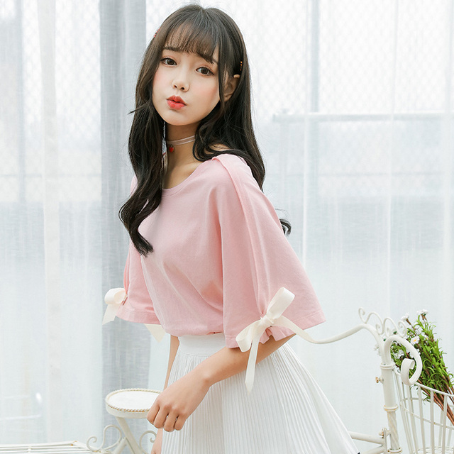 2020 Womens Summer Solid Color T shirt Female Butterfly Cotton Loose Tee Ladies Clothes For Women Tshirt Tops Ulzzang TunicT-Shirts