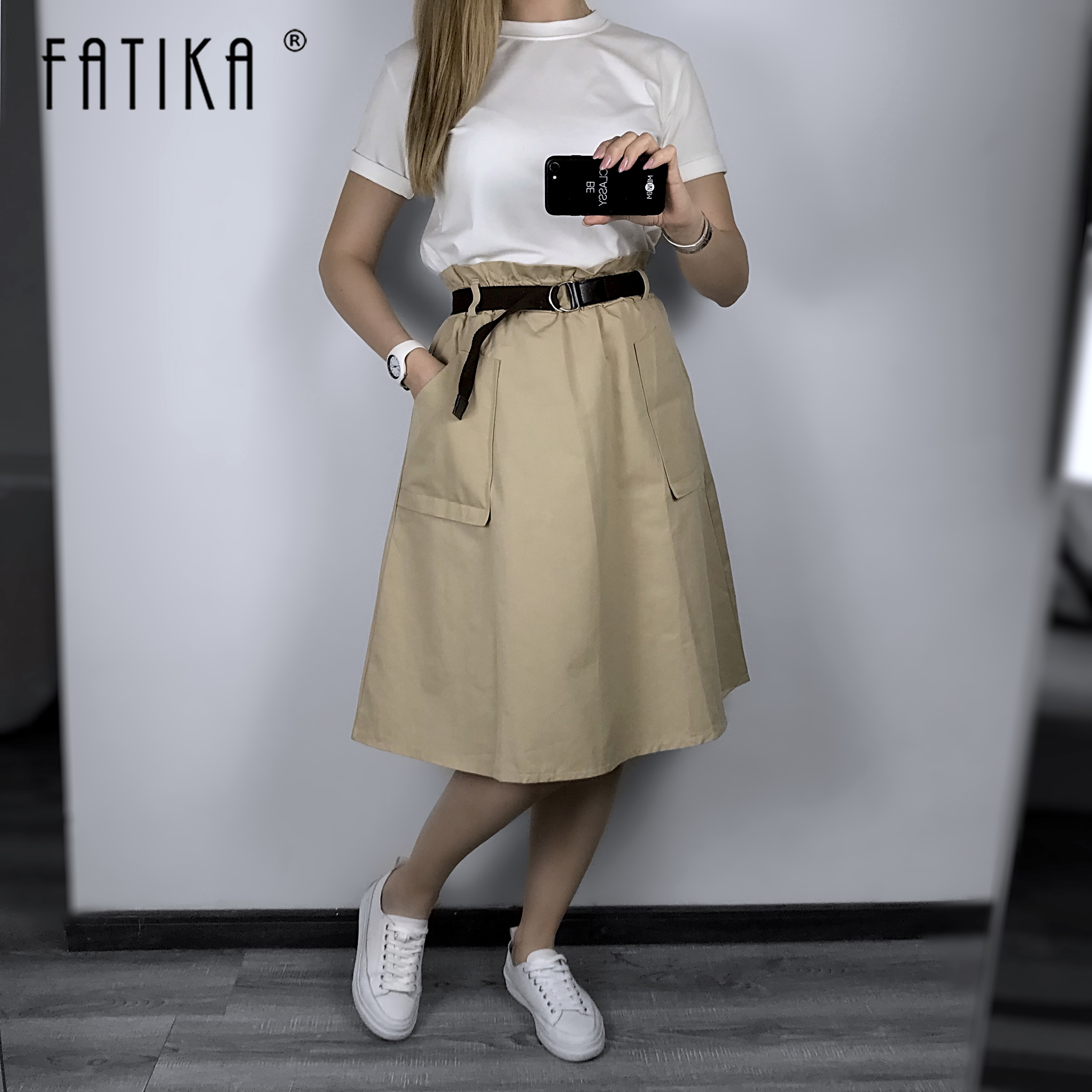 FATIKA Pure Color Pockets Midi Skirts Casual Ladies Bottoms Trendy Female Skirts With Sashes 2019 Hot New For Women
