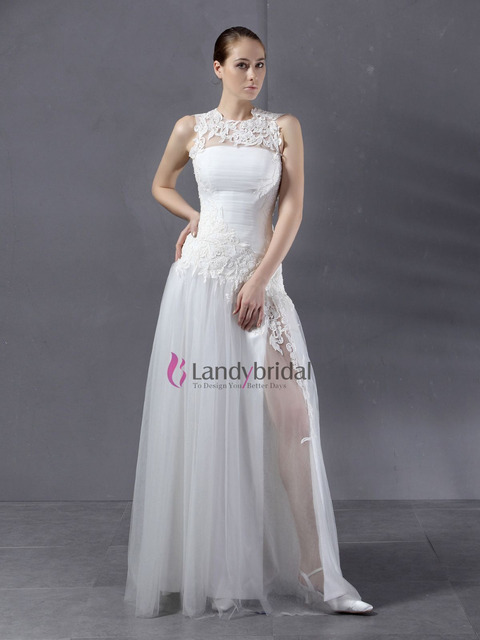 Cheap High Neckline Lace Covered Chest Tulle Free Shipping Wedding Dress