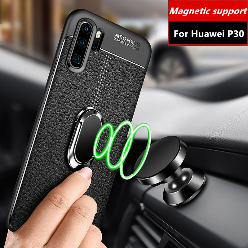 Phone Case For Huawei P30 Pro Luxury Leather Design Magnetic Ring Soft Silicone Holder Cover Cases For Huawei P30 Lite Fundas in Fitted Cases from Cellphones Telecommunications