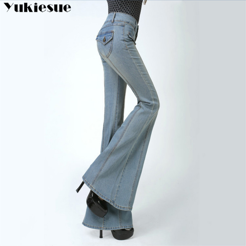 woman's Flared Jeans with High Waist for women Elegant Retro Style Bell Bottom Skinny Denim Pants Female Sexy Wide Leg Jeans