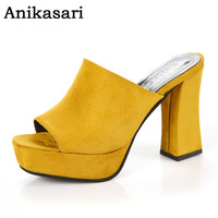 Women Summer Shoes Mules Slides Sexy High Heels Pumps Platform Shoes Woman Slippers Fashion Slip On