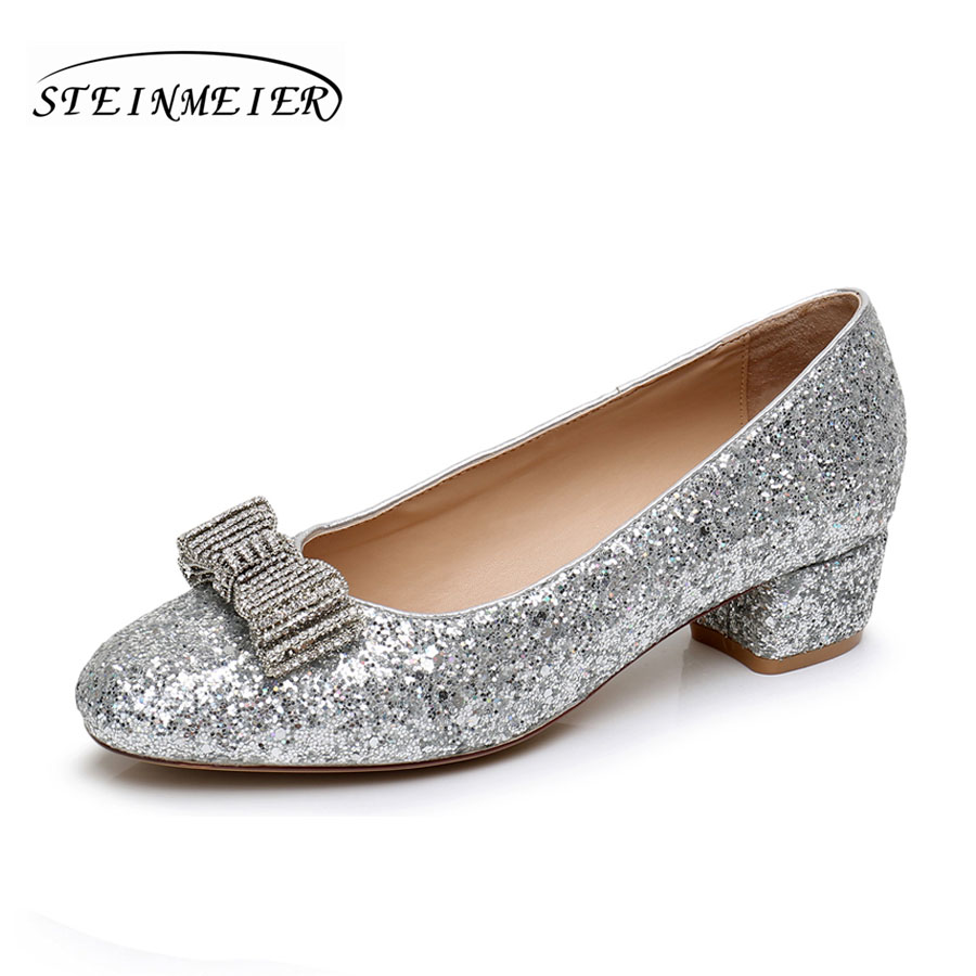 Women high quality 4cm middle heels shoes sweet rhinestone bow nightclub shallow womens silver wedding party shoes