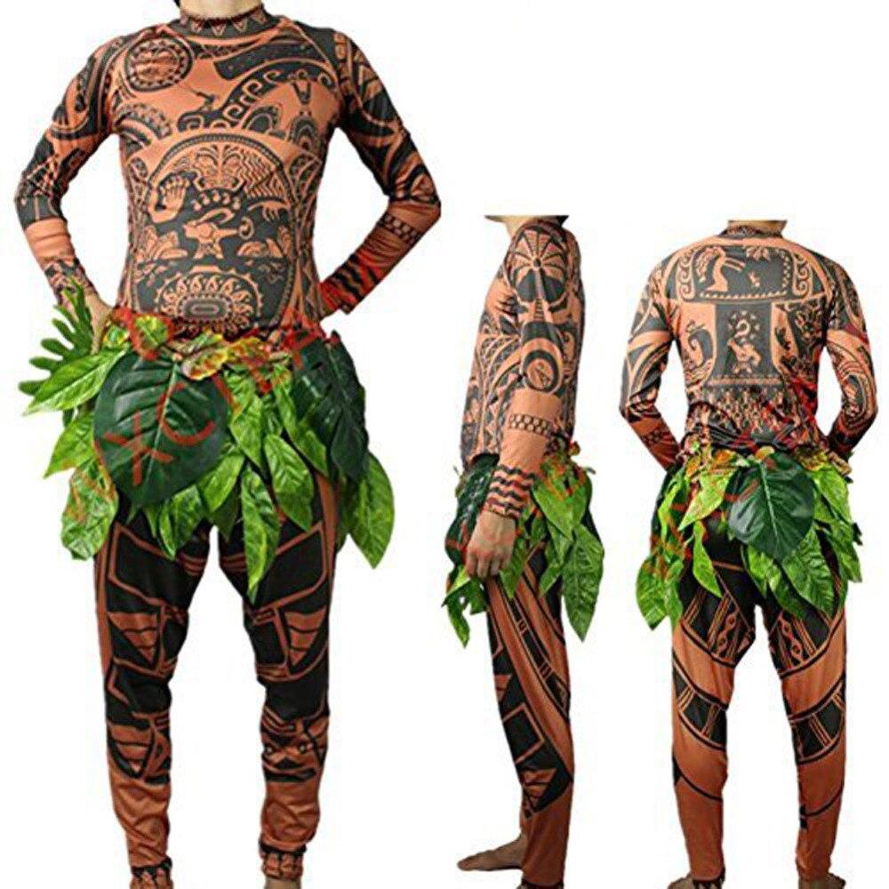 Moana Maui tatouage t-shirt/pantalon Halloween adulte hommes femmes Cosplay Costumes avec des feuilles décor