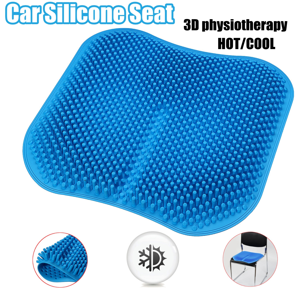Car Seat 3D Physiotherapy Silicone Gel Comfort Cushion Car Office Cool/Hot Massage Seat