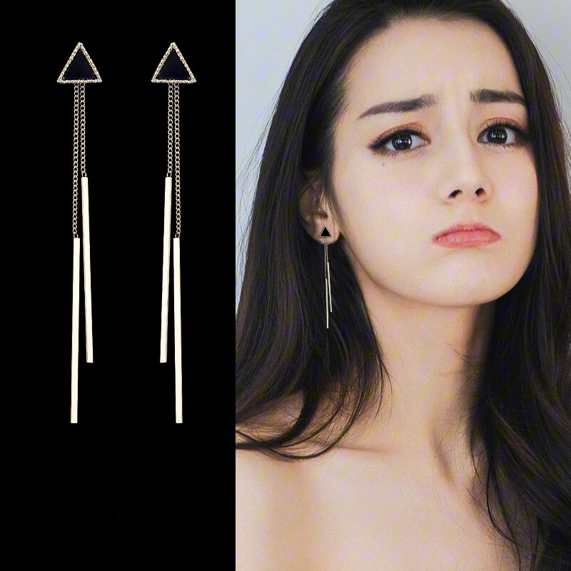 Korea Geometric Triangle Long Tassel Bar Drop Earrings For Women Minimalism Personality Ear Line Dangle Oorbellen Gift EB850(China)