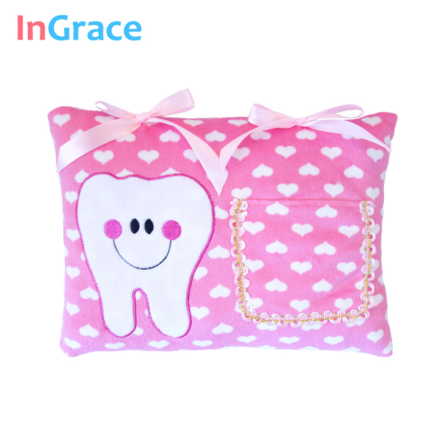 Us 7 54 48 Off Ingrace Pink Soft Tooth Fairy Pillow For Baby Sweet Heart Tooth Pillow With Bows And Pocket Safe And Machine Washable 12 19 In