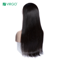 Virgo Peruvian Straight Wig 360 Lace Frontal Wig Pre Plucked With Baby Hair Remy 360 Human Hair Wig For Black Women 130% Density