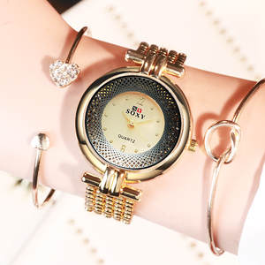 Women Watches Dial Trend Dames Fashion Ladies Simple Reloj Mujer Quartz -10 Particle-Link-Strap