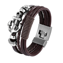 2019 Trendy Jewelry Leather Bracelet Men Braided Multilayer Anchor Bracelets Ladies Rope Chain for Male Jewelry Classic Pulseira