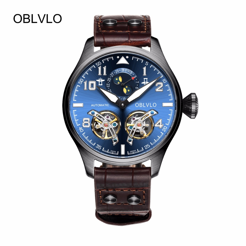 OBLVLO Military Watches for Men Blue Dial Automatic Watches with Moon Phase Complete Calendar Leather Strap Watches OBL8232 gas gb2104 gas