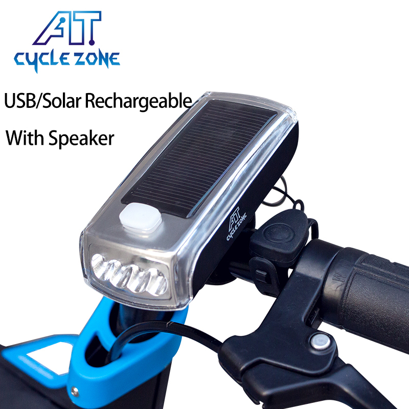 USB Rechargeable MTB Bike LED Front Light Bicycle Warning Lamp Torch w//Speaker