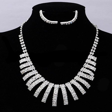 A025 New Rhinestone Crystal Neckace earrings Jewelry sets Wedding Bride Party For Women Gifts Wholesale ABC