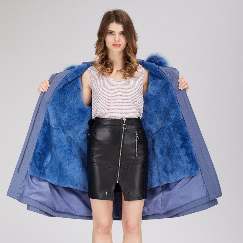 D'hiver Amovible Lapin Longue Veste Chaud Taille Mode Parka Doublure Épais À Adustable Femmes 2018 Manteau Royal Streetwear Capuchon De Bleu Fourrure 4EqSgS