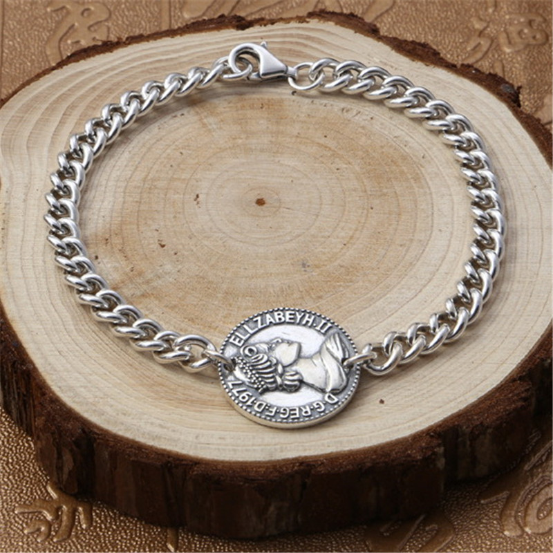Queen Coin Tag Solid Silver 925 Chain Bracelet For Men Women 100% Real 925 Sterling Silver Simple Vintage Style 925 Jewelry Gift chic solid color round coin bracelet for women