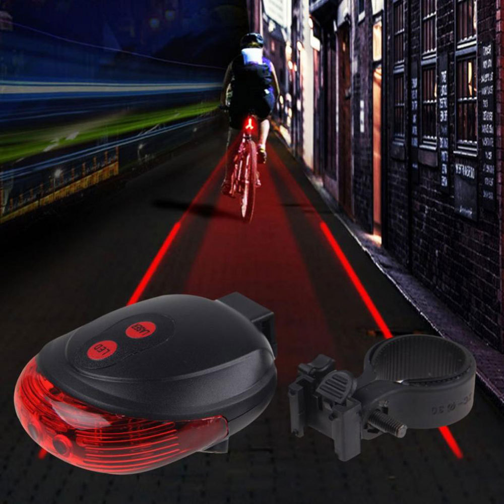 5led 2laser Cycling Safety Bicycle Rear Lamp Waterproof Bike Laser