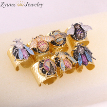 5PCS ZYZ315 4742 High Quality Fashion Gold Color Ring Micro Pave CZ Insect Ring Women Jewelry