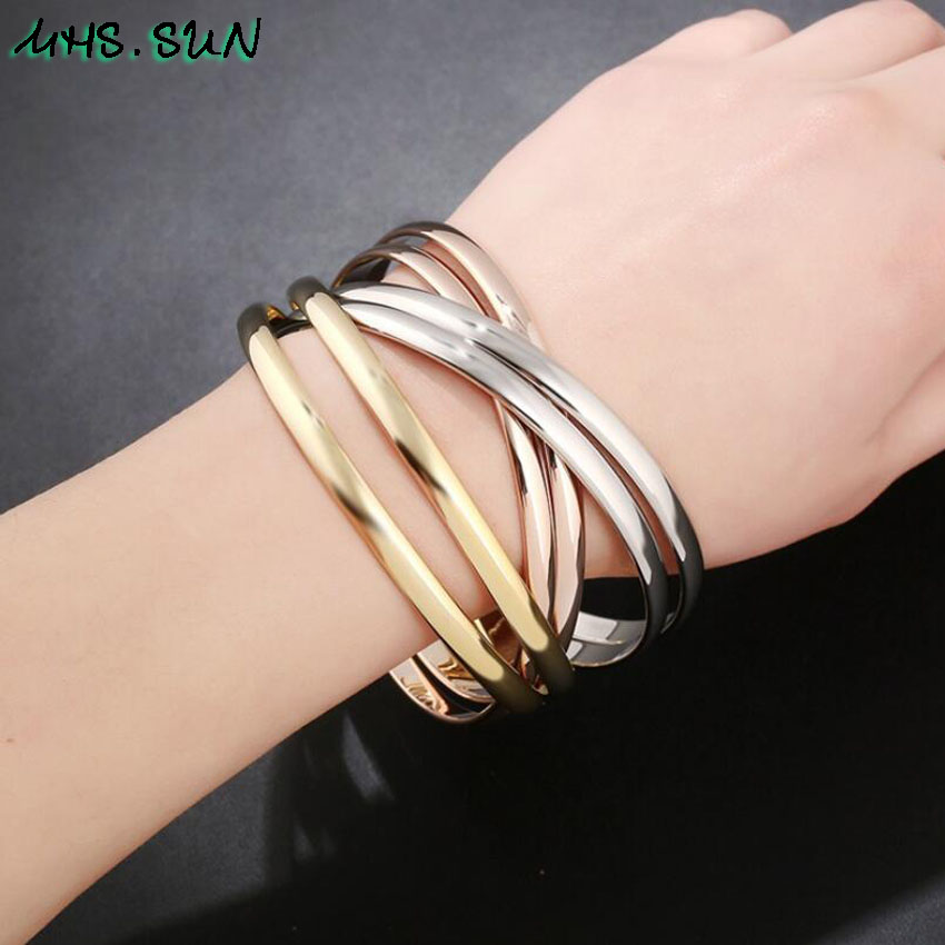 30 ,CB030,$11.8,6ashion Six-Layers Women Contracted Bangles Bracelets European Style Girls Ladies Bangles All-Match Jewelry Fadeless
