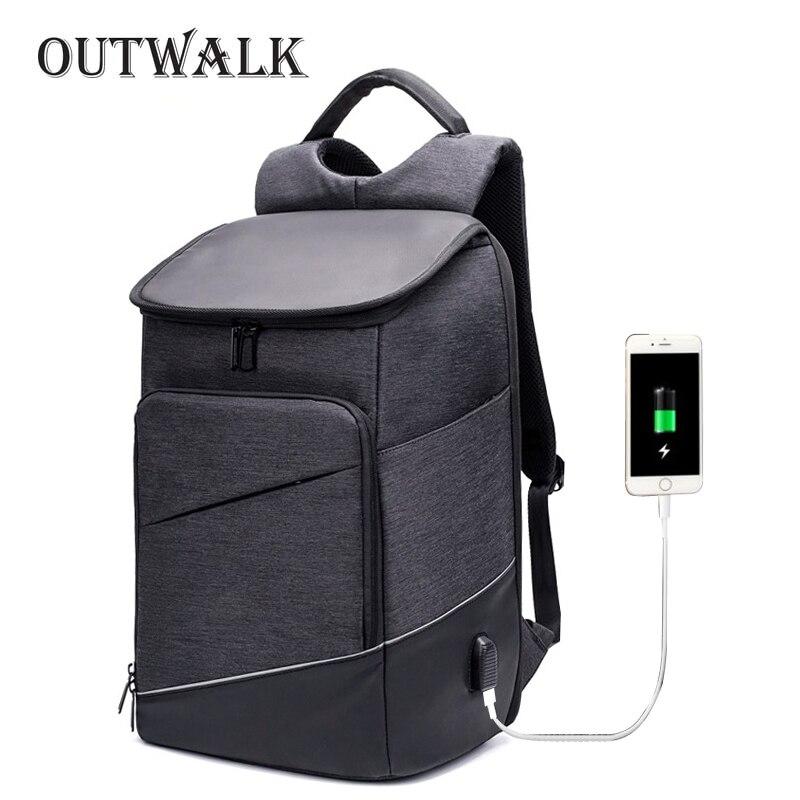 OUTWALK New Men 15.6 Laptop Backpack Anti Theft Backpack USB Charging Women School Notebook Bag Oxford Waterproof Travel Bagpack