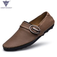 Genuine Cow Leather Mens Loafers 2017 Fashion Handmade Moccasins Leather Men Flats Brown Slip On Men