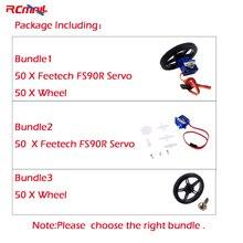 50 pz/lotto Feetech FS90R Servo/Ruota di 360 Gradi di Rotazione Continua Micro RC Servo Per Robot RC Auto Droni FZ0101 01 FZ2913