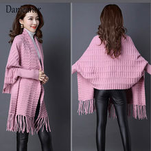 Danjeaner 술 긴 Cardigan 암 2018 Autumn 트리코 Sweater Women Jacket 니트 곶 판초 Women Winter Top Jumper 기모노(China)