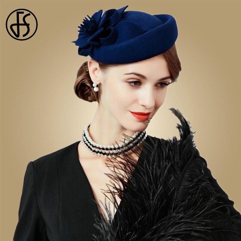 18f5bd506c847 Detail Feedback Questions about FS Fascinators For Women Elegant Wool Felt Hats  Navy Blue Black Pillbox Hat Ladies Wedding Floral Formal Cocktail Church ...