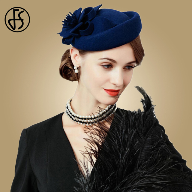 FS Fascinators For Women Elegant Wool Felt Hats Navy Blue Black Pillbox Hat  Ladies Wedding Floral Formal Cocktail Church Fedoras cf3b7f0c2f5e