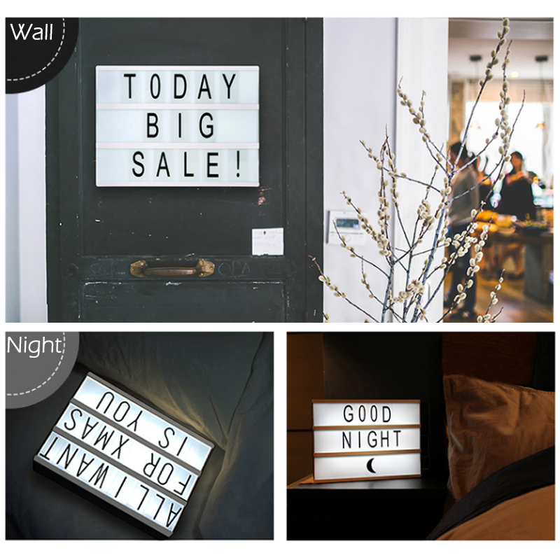 DIY LED Cinema Light Box Letter Rechargeable Lithium Battery night Lamp 180 PCS Letters Included For Decoration