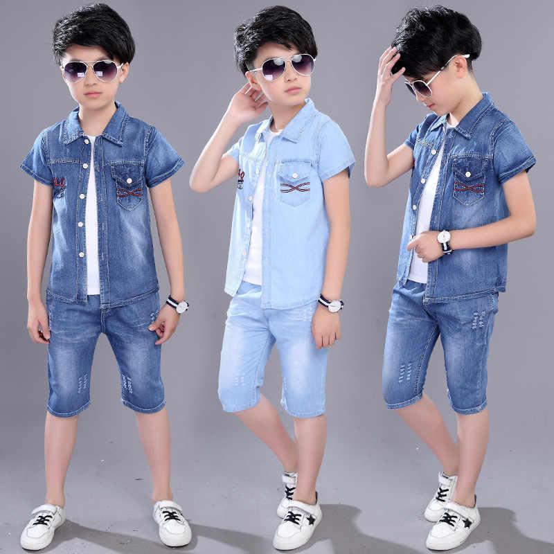 short sleeved denim suit|Clothing Sets