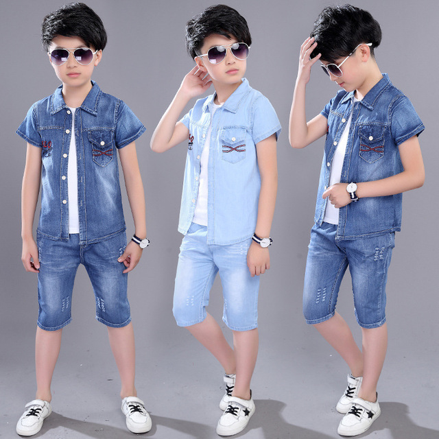 Children's Casual Wear Sportswear Boy Kids Clothes Boys cotton Anchor print infant clothing set Summer short-sleeved denim suit