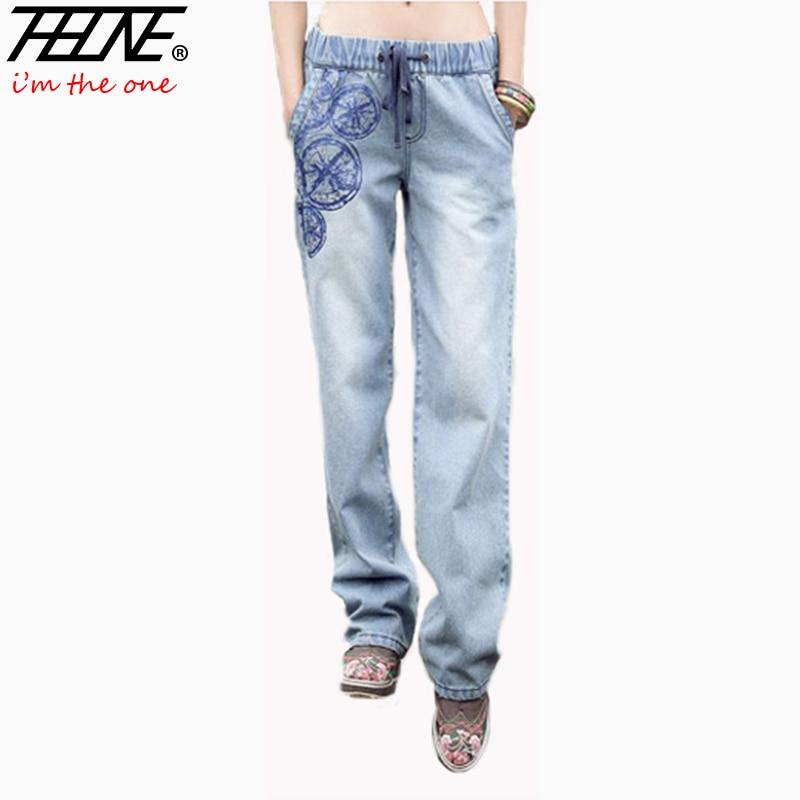 New Summer Denim Jeans Women Flared Wide Leg Elastic Waist Print Casual Fashion Straight Loose Pants S XL