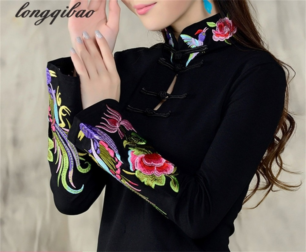 Chinese Wind Ladies 2019 Spring Large Size Embroidery National Wind Embroidery T - Shirt Female Long - Sleeved Shirt TB02