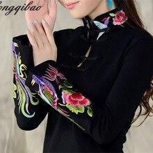 Китайский ветер дамы весна большой размер вышивка Национальный Ветер вышивка футболка женская с длинным рукавом рубашка TB02