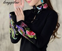 Chinese Wind Ladies 2017 Spring Large Size Embroidery National Wind Embroidery T Shirt Female Long Sleeved